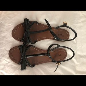 Prada sandals with patent leather bows